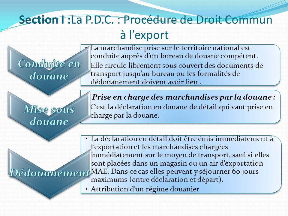 Dépôt dune déclaration sommaire : Conduite de la marchandise au bureau de douane le plus proche.