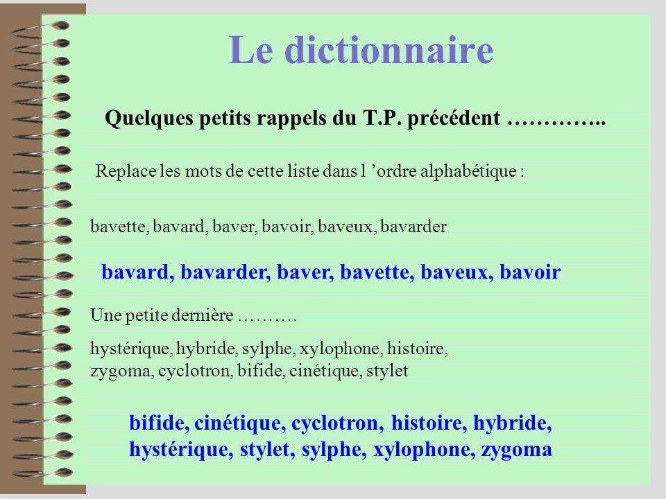 Le dictionnaire Quelques petits rappels du T.P.précédent …………..