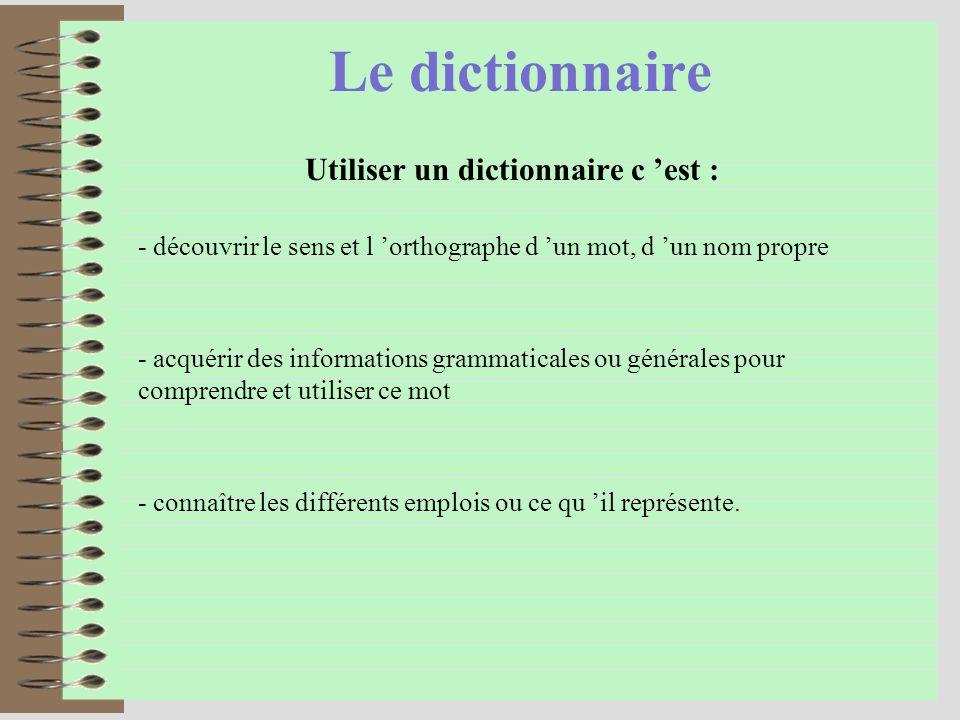 Le dictionnaire Utiliser un dictionnaire c est : - acquérir des informations grammaticales ou générales pour comprendre et utiliser ce mot - connaître les différents emplois ou ce qu il représente.