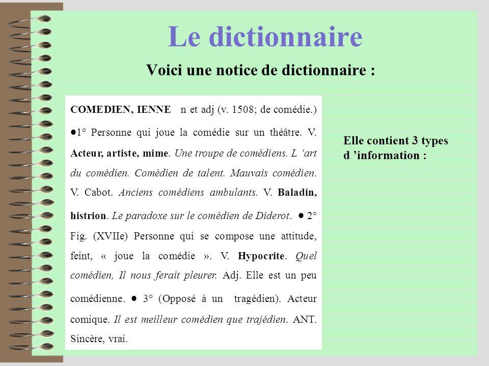 Le dictionnaire Voici une notice de dictionnaire : COMEDIEN, IENNE n et adj (v.