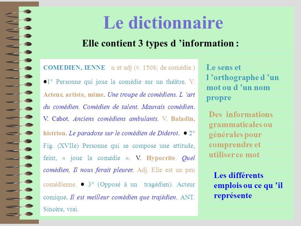 Le dictionnaire Elle contient 3 types d information : Les différents emplois ou ce qu il représente COMEDIEN, IENNE n et adj (v.