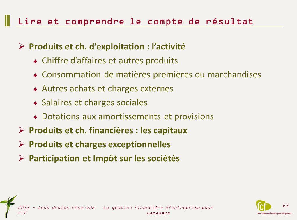 Lire et comprendre le compte de résultat 2011 - tous droits réservés FCF 24 La gestion financière d entreprise pour managers