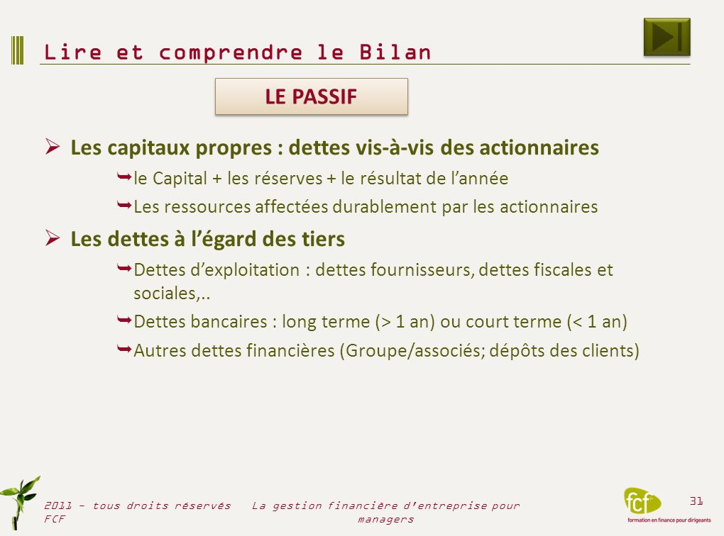 Comprendre le BILAN 2011 - tous droits réservés FCF 32 La gestion financière d entreprise pour managers BILAN AU 31/12/2010 (avant affectation du résultat) ACTIF PASSIF (patrimoine) (dettes) Libellés Brut Amortiss.