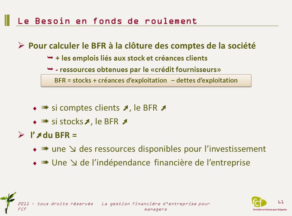La structure du BFR dépend de lactivité Activité de Prestations de services Activité industrielle Activité de négoce La structure du BFR dépend de la saisonnalité de lactivité Le BFR au 31/12 Le BFR en cours dannée Le Besoin en fonds de roulement 2011 - tous droits réservés FCF 62 La gestion financière d entreprise pour managers