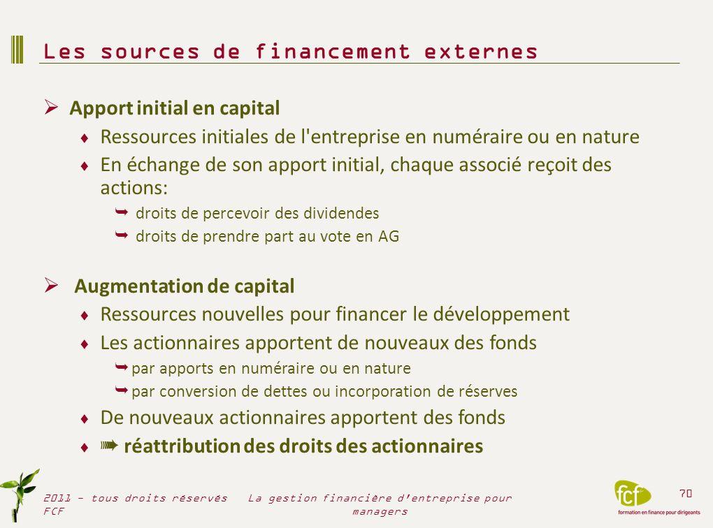Augmentation de capital (ouverture du capital) Les « + » Principale source de fonds propres externes Augmente les liquidités de l entreprise (trésorerie) Augmente le Fonds de roulement net Améliore la structure financière Augmente la capacité d endettement Mais….