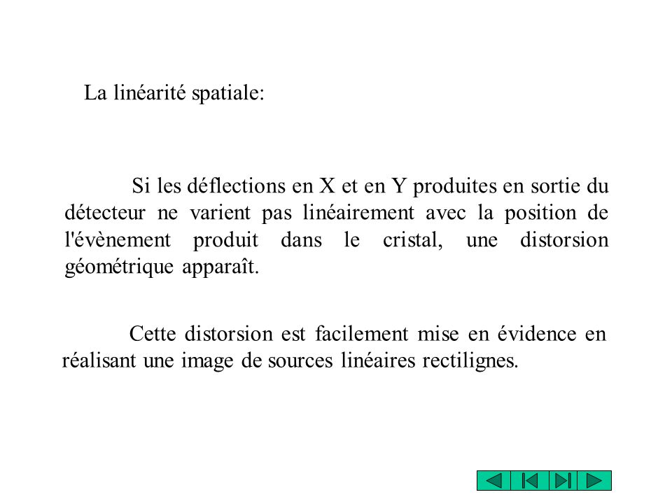 source L Source ponctuelle de ~ 200MBq L > 5*diamètre champ de détection Masque de linéarité en Pb (épaisseur 30mm) cristal linéarité trous de = 3mm distants de 30mm Masque de linéarité