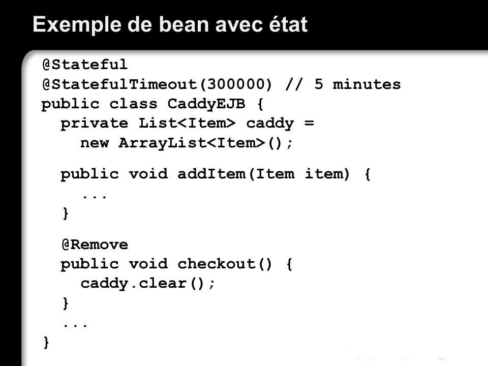 Problème de ressource Le client entretient une conversation avec le bean, dont l état doit être disponible lorsque ce même client appelle une autre méthode.
