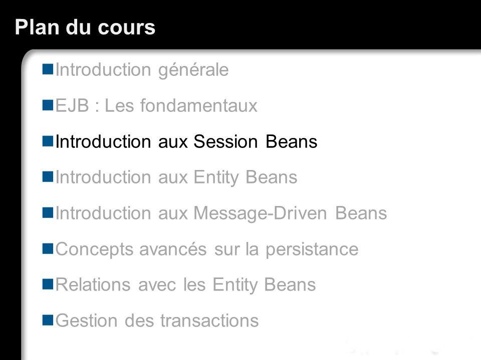 Session Bean : rappel Un Session Bean représente une action, un verbe, une logique métier, un algorithme, Un enchaînement de tâches… Exemples Saisie d une commande, Compression vidéo, Gestion d un caddy, d un catalogue de produits, Transactions bancaires…
