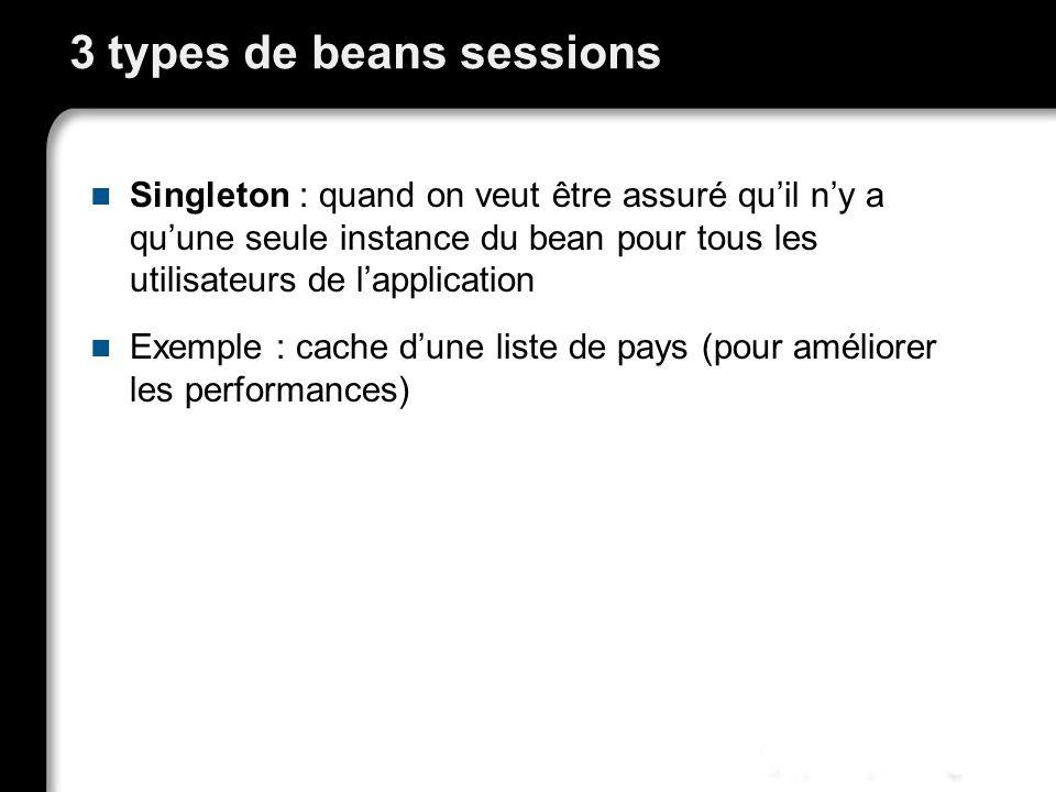 Stateless Session Beans Le client passe toutes les données nécessaires au traitement lors de l appel de méthode Le container est responsable de la création et de la destruction du Bean Il peut le détruire juste après un appel de méthode, ou le garder en mémoire pendant un certain temps pour réutilisation.