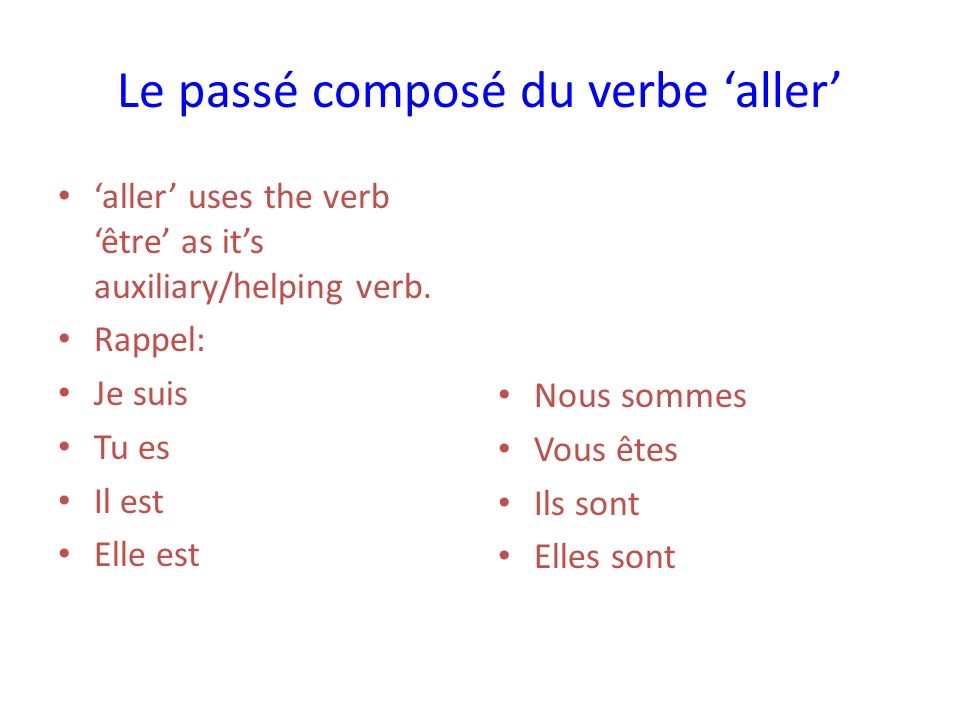 Laccord: Agreement Unlike verbs using avoir in the passé composé, the past participle (allé) must agree in number and gender with the subject pronoun.
