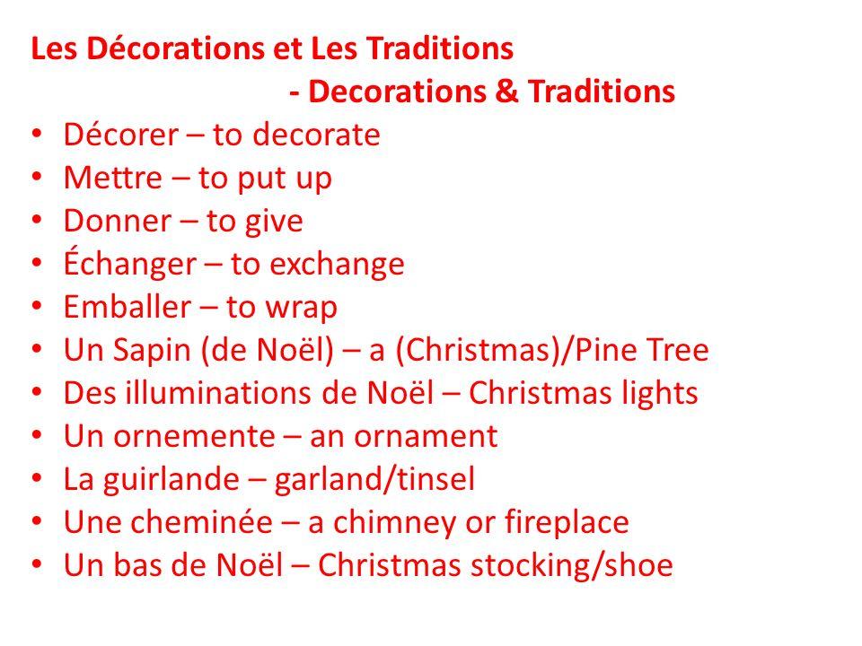 Le houx - holly Des Santons – saint/nativity figurines Une cloche – a bell or church bell Un grelot – a sleigh bell Une bougie – candle Un cadeau – a gift or present Un ruban – ribbon Des jouets – toys Un gui – mistletoe
