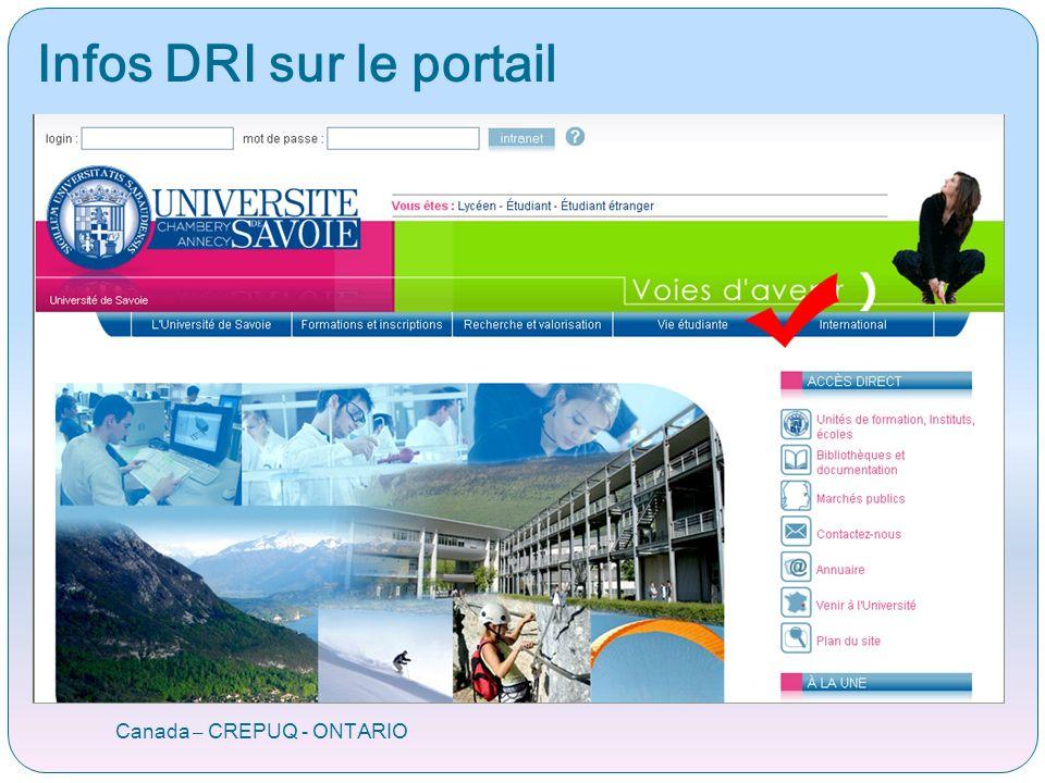 Portail Programme ORA Programme ORA Canada – CREPUQ - ONTARIO