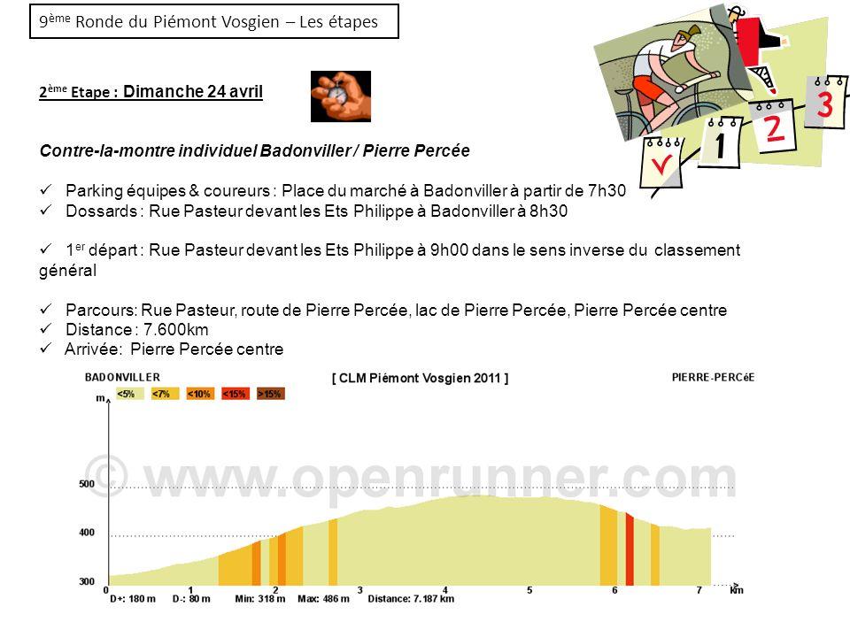 9 ème Ronde du Piémont Vosgien – Les étapes 3 ème Etape : Dimanche 24 avril (après-midi) Course en circuit Badonviller / Badonviller Parking équipes & coureurs : Rue du 08 mai à Badonviller à partir de 13h00 Dossards : Rue du 08 mai à 13h30 Dossards Réunion des Directeurs Sportifs à 13h30 au car podium Départ : Rue du 08 mai à Badonviller 14h15 Parcours: Rue du 8 Mai – Av.
