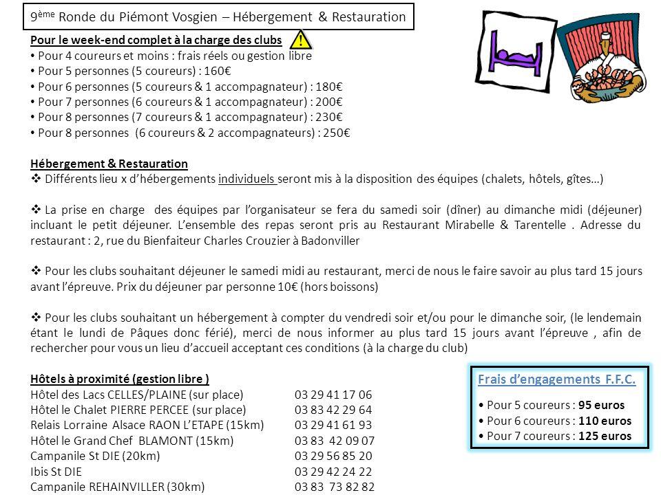 9 ème Ronde du Piémont Vosgien – Règlement, Primes & Récompenses Règlement Lépreuve étant sous lintitulé « Ronde », il sera possible pour les coureurs ayant abandonné une étape de courir la suivante.