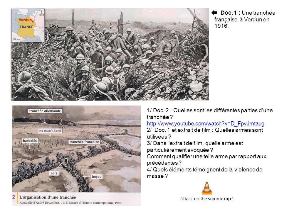 La tranchée est un long fossé creusé dans le sol pour abriter les soldats.