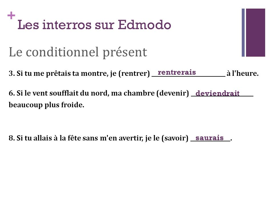 + Les interros sur Edmodo Le conditionnel passé 3.