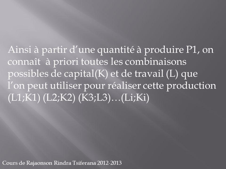 Cours de Rajaonson Rindra Tsiferana 2012-2013 P1 LiL3 L2 L1 K2 K1 K3 Ki (L1;K1) (L2;K2) (L3;K3) (Li;Ki) L K