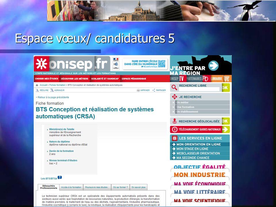 Espace vœux/ candidatures 6 Sélection