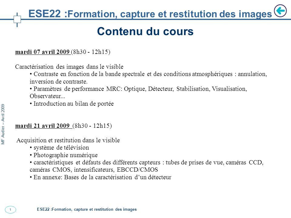 2 MF Audier – Avril 2009 Systèmes dimagerie ESE22 : Formation, capture et restitution des images