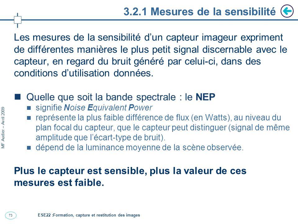 74 MF Audier – Avril 2009 3.2.1 Remarques sur NEP Le NEP est la caractéristique du capteur complet (avec optique et détecteur).