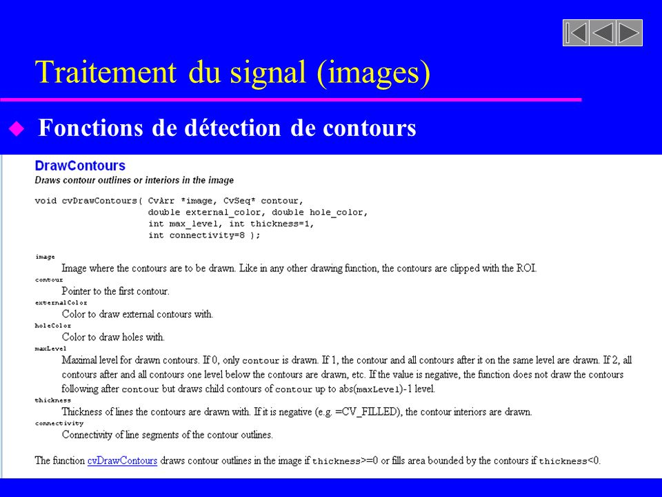 Traitement du signal (images) u Fonctions de dessin (ellipse)