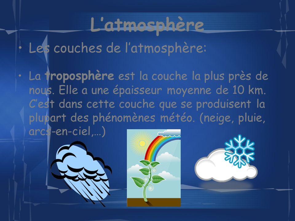 Latmosphère Les couches de latmosphère: (suite) La stratosphère est la deuxième couche, on y trouve la couche dozone.