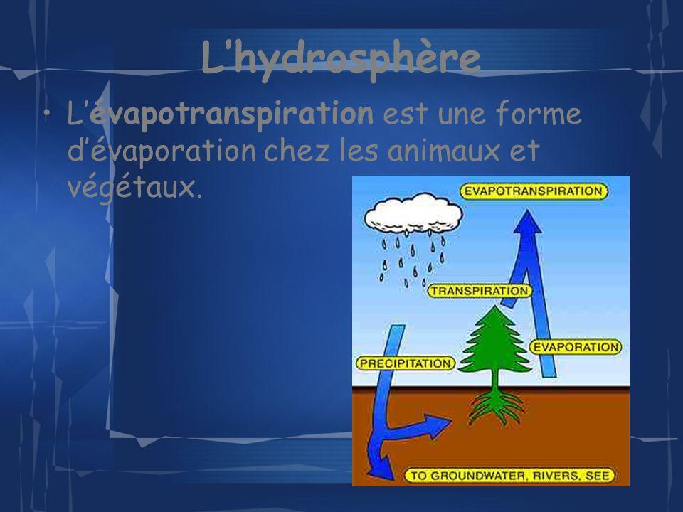 Lhydrosphère L évaporation se produit lorsque leau, qui reçoit de lénergie, se transforme en vapeur et retourne dans latmosphère.