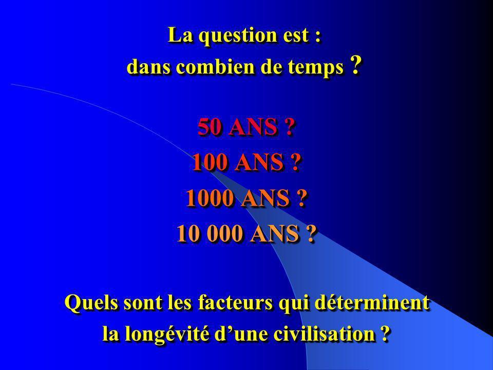 La question est : dans combien de temps .50 ANS .