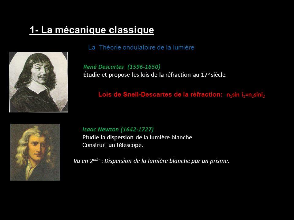 Christian Huygens (1629-1695) Propose une théorie ondulatoire de la lumière n 1 /n 2 = v 2 /v 1 (principe de Huygens Fresnel) Augustin Fresnel (1788-1827) Utilise aussi la théorie ondulatoire pour expliquer les interférences et la diffraction.