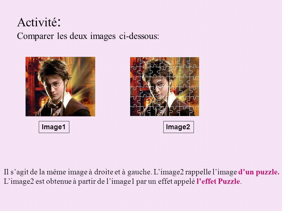 3) Leffet Puzzle Pour appliquer leffet Puzzle sur une image: -Choisir le menu « Filtre ».