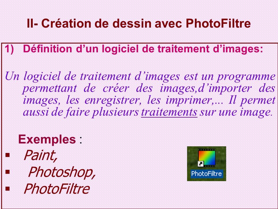 2) Lancement du logiciel PhotoFiltre Activité: Daprès cette figure, citer les étapes à suivre pour lancer PhotoFiltre.