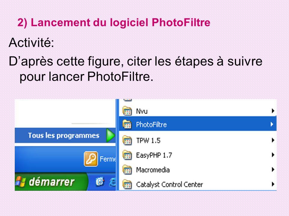 Pour lancer « PhotoFiltre »: - Cliquer sur « Démarrer ».