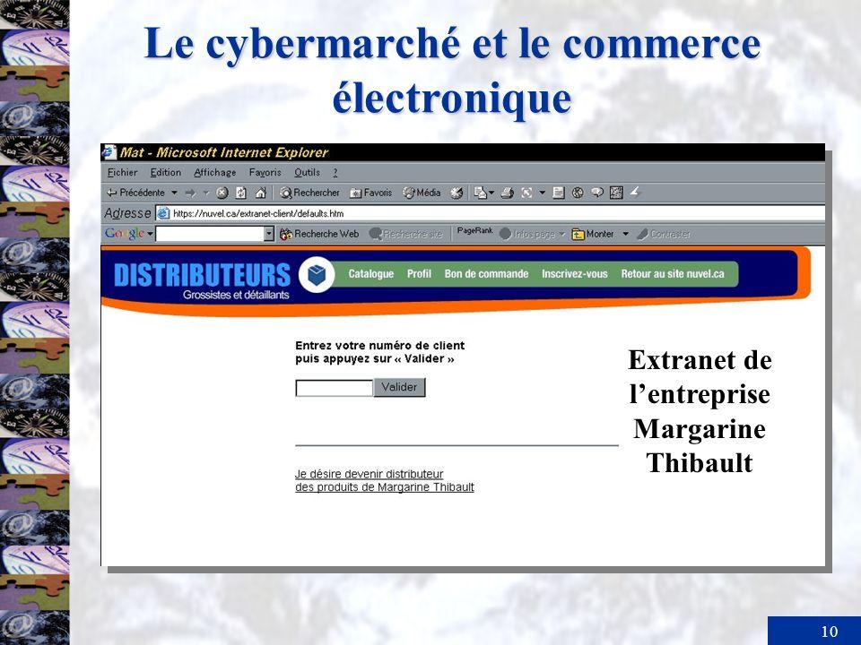 11 Le cybermarché et le commerce électronique Marketing.com –Utilité de temps : magasinage 24h/ 24, 365 jours par année.