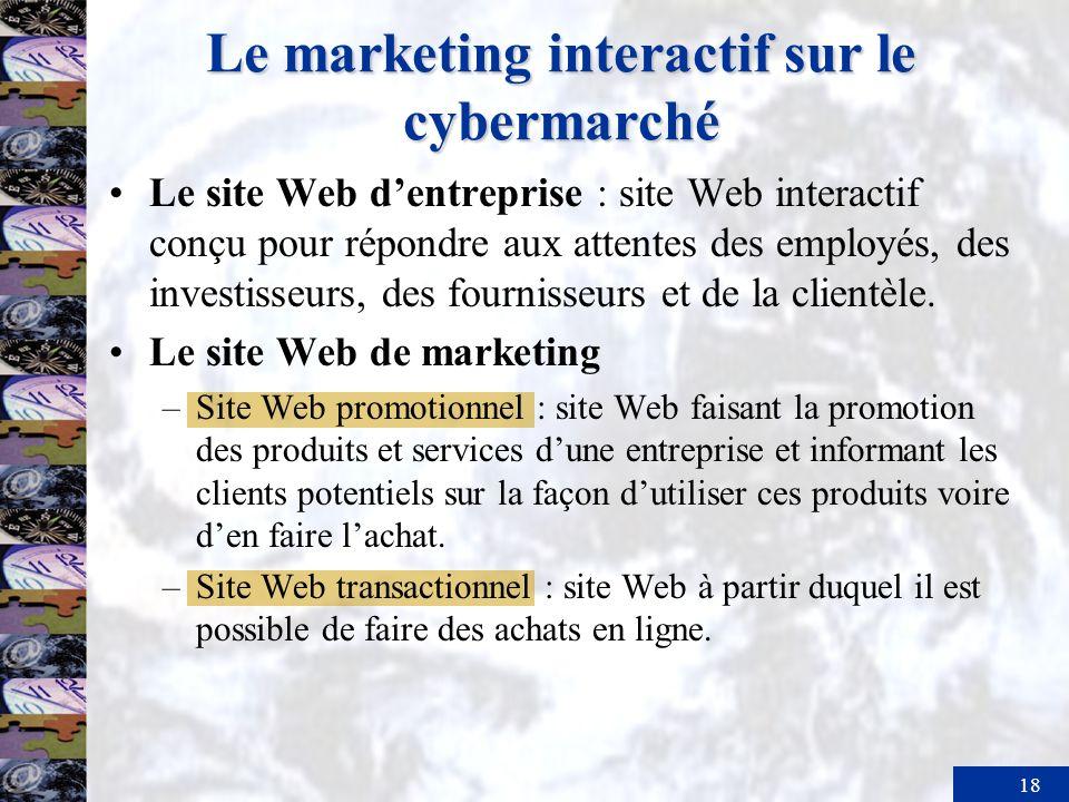 19 Le marketing interactif sur le cybermarché La publicité en ligne –Bannière : forme la plus courante de publicité sur Internet.