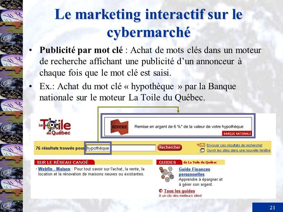 22 Le marketing interactif sur le cybermarché La publicité en ligne (suite) –Stimulation : action de mentionner ladresse dun site Web sur un autre support (en général à la télévision ou dans la presse).