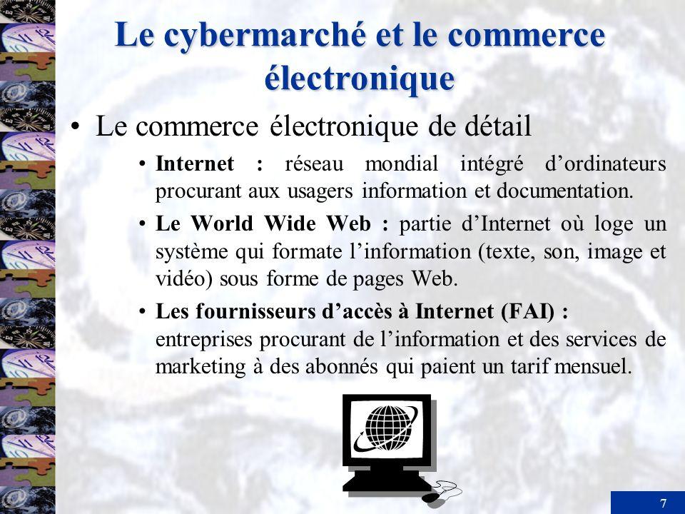 8 Le cybermarché et le commerce électronique Les fonctions de soutien dans lentreprise –Intranet : réseau Web ou réseau accessible par Internet, utilisé à lintérieur dune organisation.