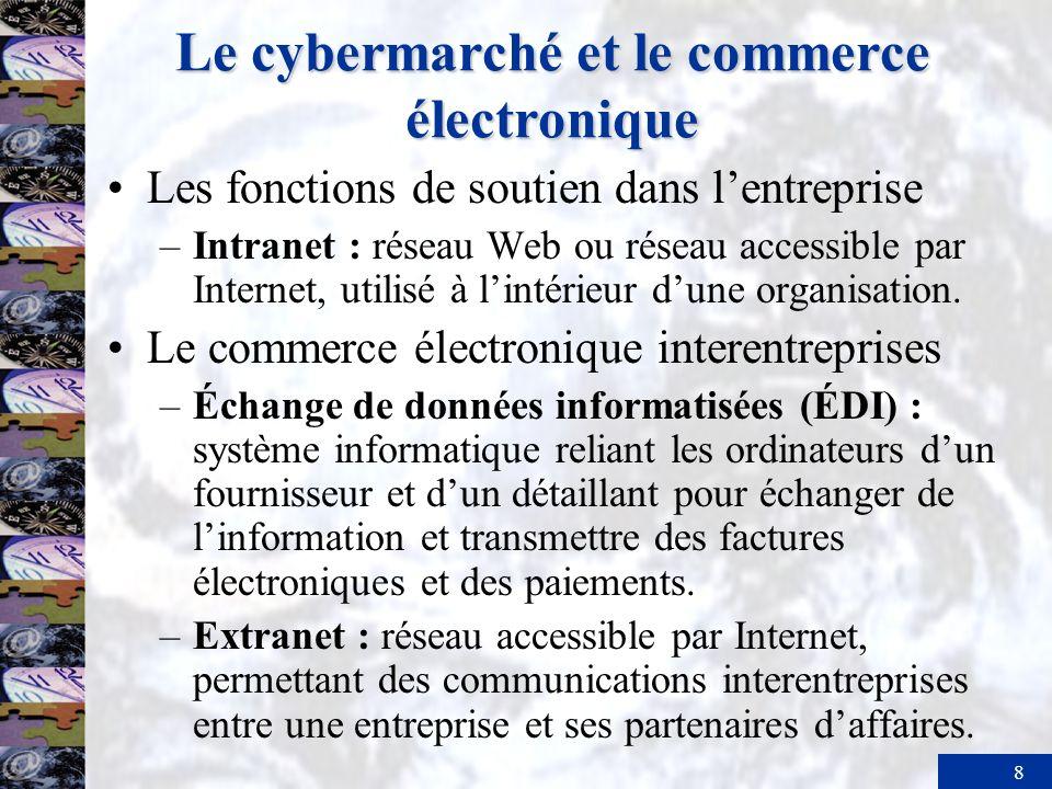9 Le cybermarché et le commerce électronique Accès à lextranet