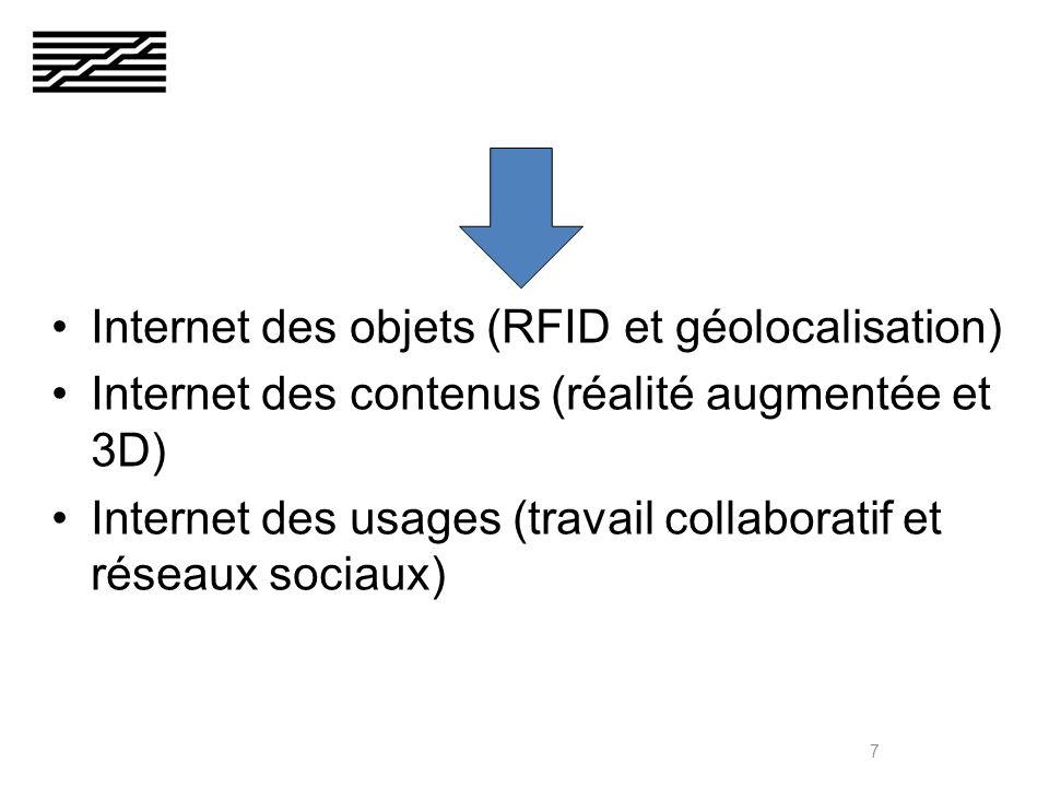 Internet des objets RFID et géolocalisation création dun gigantesque flux dinformations supplémentaires Lexemple des RFID = étiquettes électroniques : « tout marquer » 8