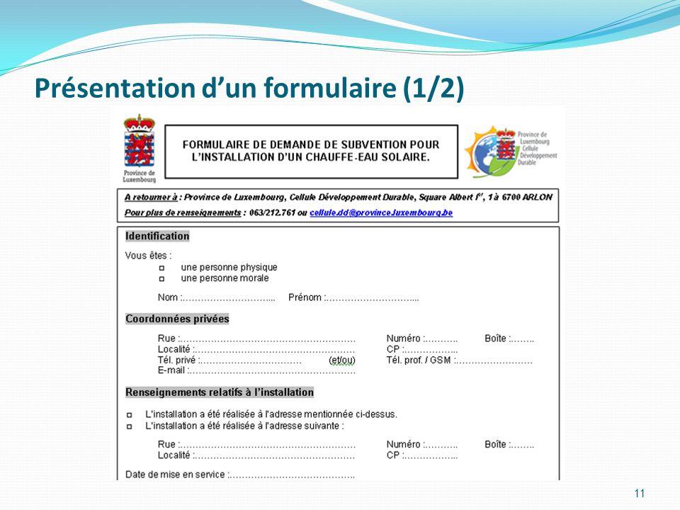 Présentation dun formulaire (2/2) 12