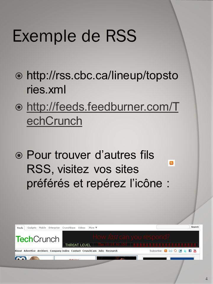 Consignes Faire une page Web permettant de lire un flux RSS selon un URL.