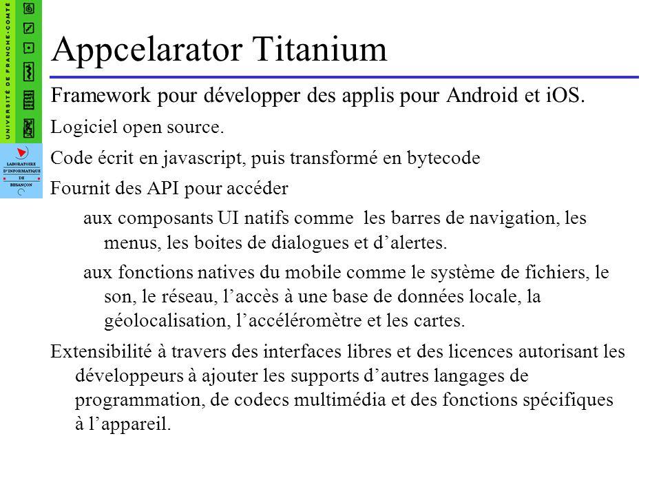 Inconvénients de Titanium Une API Titanium à apprendre.