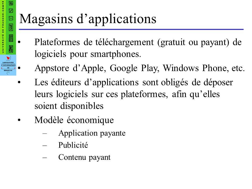 Les systèmes dexploitation mobiles Ancienne génération –Symbian (Nokia) –BlackBerry OS –Windows Mobile OS « tactiles » –IOS dérivé de Mac OS X 300 000 applications téléchargeables sur lAppstore –Android Basé sur un noyau Linux Open source Intègre les services Google –Windows Phone 7