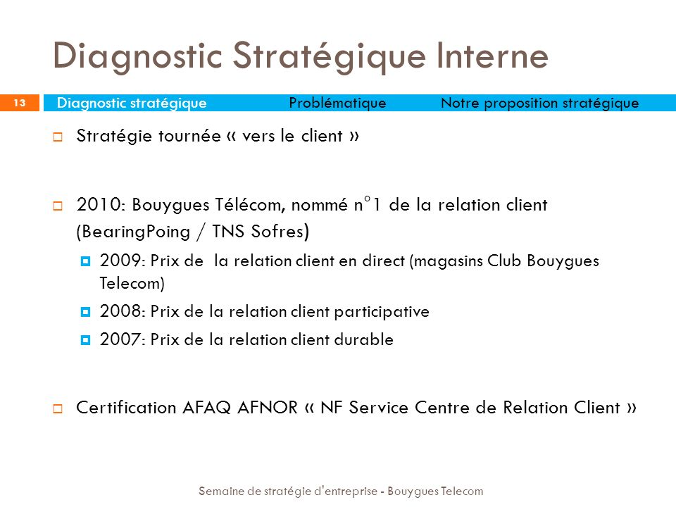 14 Semaine de stratégie d entreprise - Bouygues Telecom