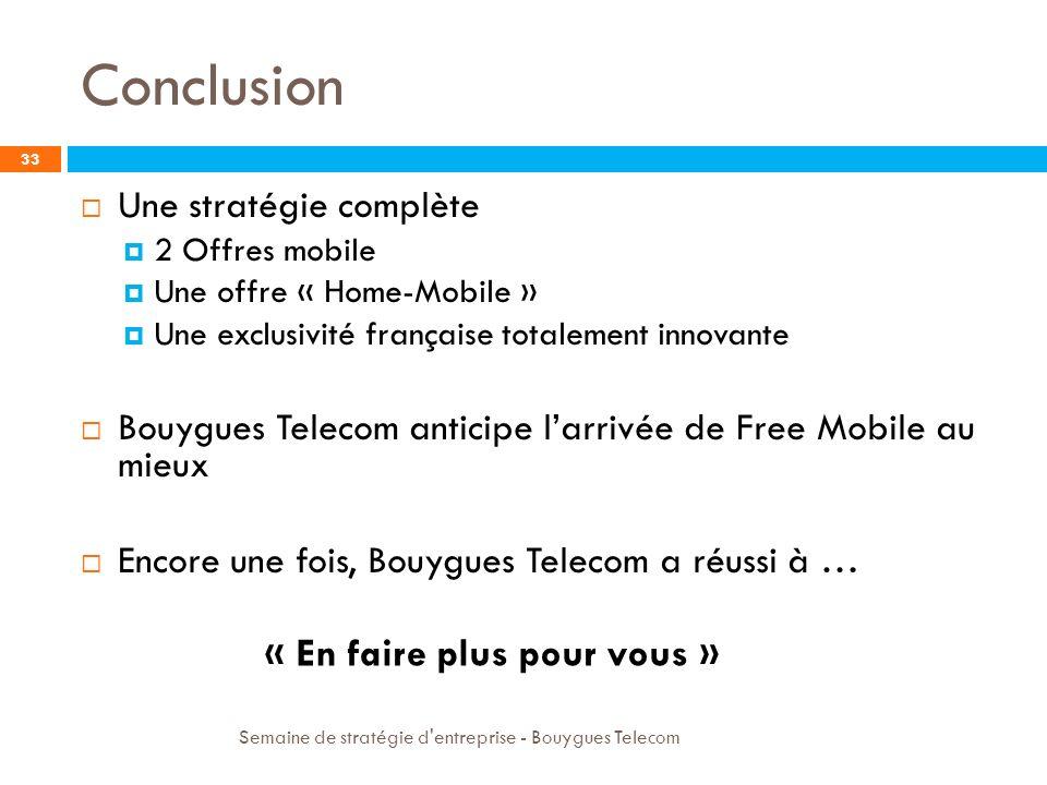 Sources 34 http://www.francemobiles.com/actualites/id/201006141276067182/bouygu es_telecom_est_elu_numero_1_de_la_relation_client.html http://www.francemobiles.com/actualites/id/201006141276067182/bouygu es_telecom_est_elu_numero_1_de_la_relation_client.html http://www.zdnet.fr/actualites/le-marche-des-telecommunications-progresse- de-37-en-2007-39382063.htm http://www.zdnet.fr/actualites/le-marche-des-telecommunications-progresse- de-37-en-2007-39382063.htm http://www.laboutique.bouyguestelecom.fr/forfaits-mobiles-offres- internet/offres-forfaits-mobiles-2_o.html http://www.laboutique.bouyguestelecom.fr/forfaits-mobiles-offres- internet/offres-forfaits-mobiles-2_o.html http://fr.wikipedia.org/wiki/Bouygues_Telecom http://www.societe.com/societe/bouygues-telecom-397480930.html http://www.institutionnel.bouyguestelecom.fr/notre_entreprise/communiques_d e_presse/%28nodeID%29/69164 http://www.institutionnel.bouyguestelecom.fr/notre_entreprise/communiques_d e_presse/%28nodeID%29/69164 http://www.servicesmobiles.fr/services_mobiles/2005/09/mvno_la_tlphoni.ht ml http://www.servicesmobiles.fr/services_mobiles/2005/09/mvno_la_tlphoni.ht ml http://www.pcinpact.com/actu/news/54212-sfr-femtocell-3g-couverture- mobile.htm http://www.pcinpact.com/actu/news/54212-sfr-femtocell-3g-couverture- mobile.htm http://www.doc-etudiant.fr/Marketing-qr/C-est-quoi-la-definition-de-la-strategie-offensive- 26419.html http://www.doc-etudiant.fr/Marketing-qr/C-est-quoi-la-definition-de-la-strategie-offensive- 26419.html http://www.pcinpact.com/actu/news/59897-free-mobile-3g-quadruple-play.htm Semaine de stratégie d entreprise - Bouygues Telecom