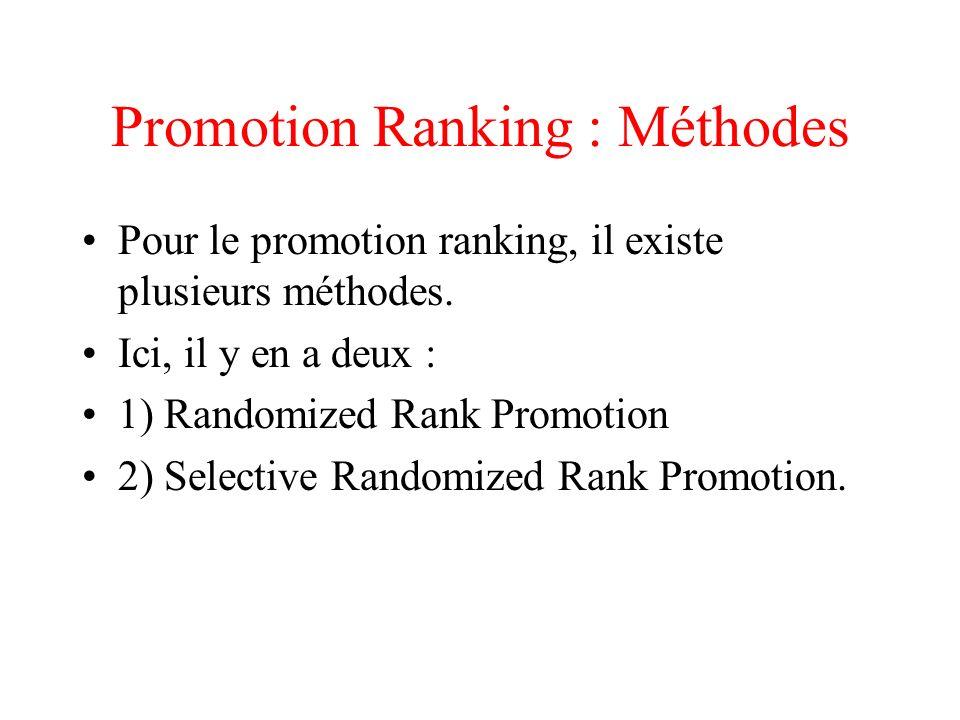 Randomized Rank Promotion Instanciation de 3 listes : L, Ld, et Lp.