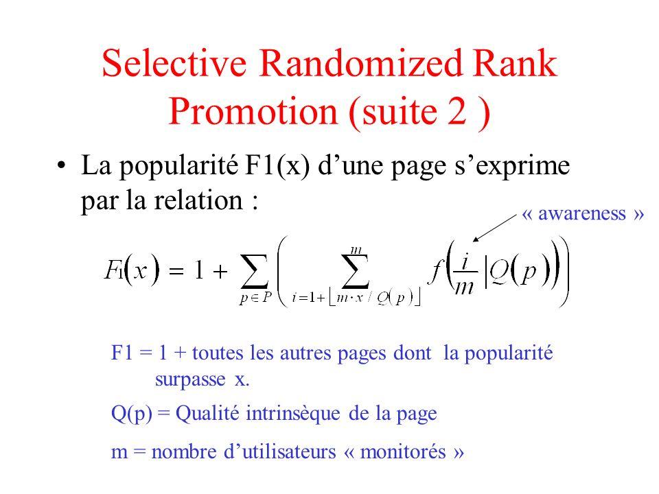 Selective Randomized Rank Promotion (suite 3) Formule finale: Si F1(x) < k Autrement z = pages avec une « awareness » de zéro F1 = formule précédente