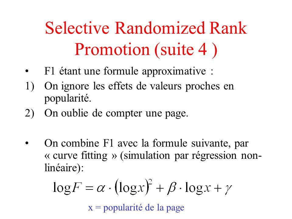 Selective Randomized Rank Promotion (suite 5) Question : Quelles valeurs faut-il donner à k (point dentrée dans la liste), r (degré de hasard) et Wp (pages à promouvoir).
