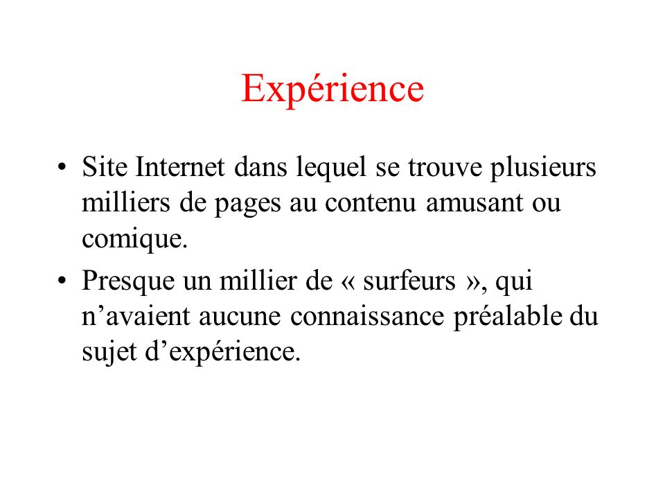 Expérience : pages du site Les pages ont été créées dynamiquement à partir dune base de données contenant des blagues.