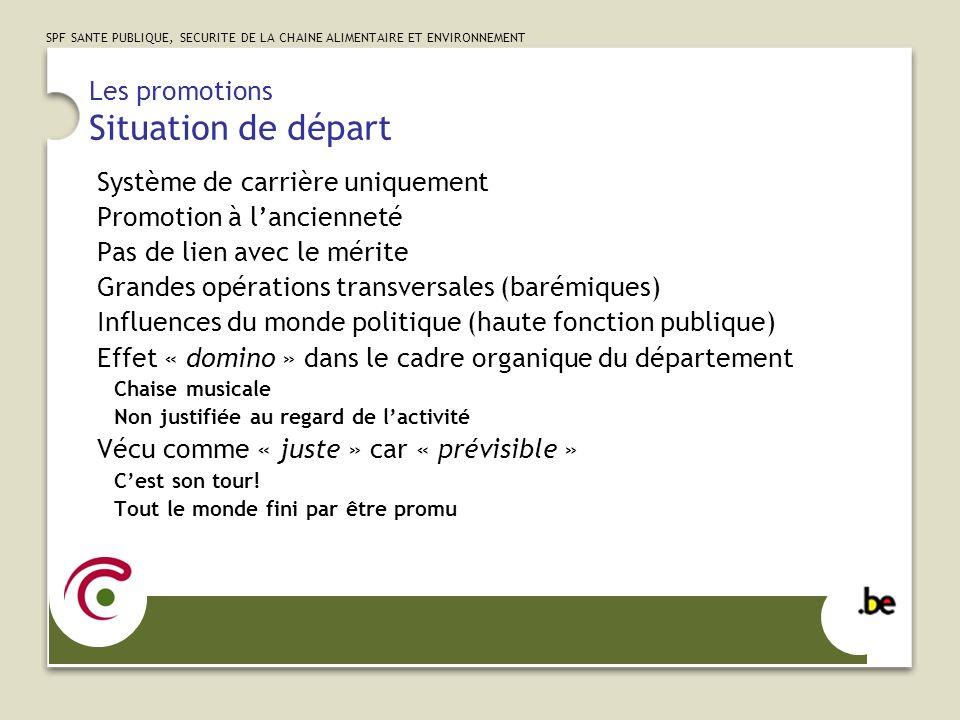 SPF SANTE PUBLIQUE, SECURITE DE LA CHAINE ALIMENTAIRE ET ENVIRONNEMENT Les promotions Adaptations Type de promotionRapiditéBudgetLié au compétences Verticale (A)++ +++ Verticale (B, C, D)++++ Horizontale (mobilité)+++-++ Diagonale (ancienneté)-+- Diagonale (compétence)++++