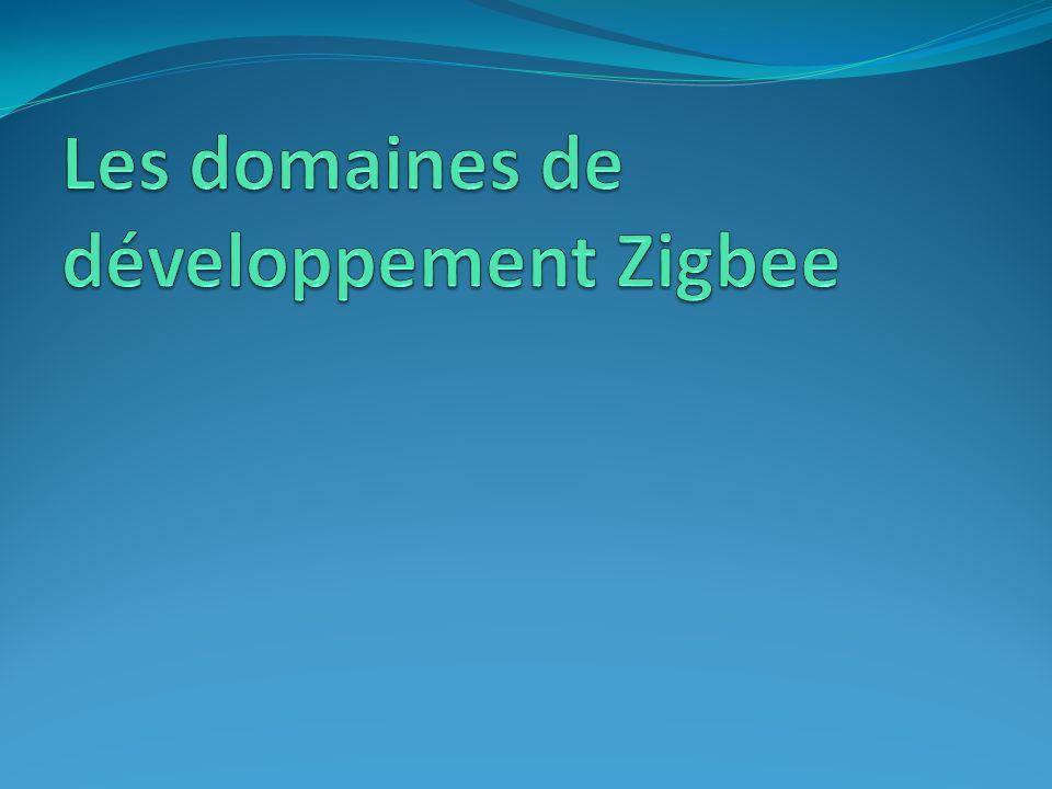 Les domaines de développement Zigbee Zigbee est une solution peu chère et sans fil, créée pour transporter de faibles volumes de données consommer peu denergie assurer la fiabilité et la sécurité des communications Grâce à ses capacités elle a pu se développer dans différents secteurs dactivités